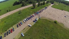 Aerial view of BMW e30 motor show Stock Footage