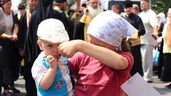 Young parishioners Ukrainian Orthodox Church Moscow Patriarchate. Kiev, Ukraine Stock Footage