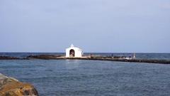 Old church far in sea Stock Footage