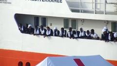 Mediterranean migrant crisis refugee assistance Stock Footage