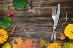 Autumn seasonal table setting Stock Photos