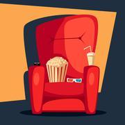 Movie night. Home cinema watching. Cartoon vector illustration. Stock Illustration