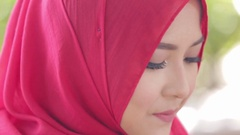 Happy pretty muslim woman smile with hijab Stock Footage