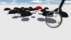 Red umbrella   Standing Out From The Crowd Stock Footage