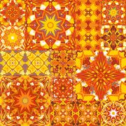 Seamless patchwork background. Oriental ornament motifs. Colorful bright Stock Illustration