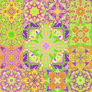 Vector seamless patchwork background from colorful oriental ornaments, polka dot Stock Illustration