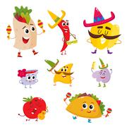 Set of smiling Mexican food playing music and having fun Stock Illustration