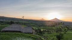 4K time-lapse of the sunrise over Jatiluwih Rice Terraces on Bali, Indonesia Stock Footage