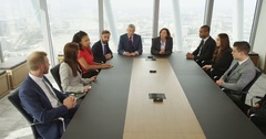 4K City business group in meeting with CEO try to blame each other for a problem Stock Footage