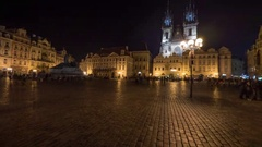 Timelapse of people at Old Town Square in night Prague Stock Footage