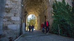 Lots of people are visiting the Ljubljana Castle Stock Footage