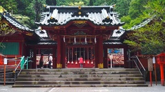 Hakone Shinto Shrine with devotees offering pray Stock Footage
