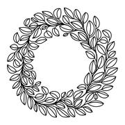 Black and white stylized drawing of laurel wreath Stock Illustration
