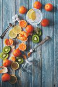 Citrus assorted fruits with refresh drink Stock Photos