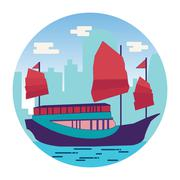 Hong Kong harbour with tourist junk in flat Stock Illustration