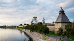 Pskov Kremlin at sunset. Time-lapse of a colorful sky1 Stock Footage