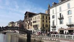 Navigli touristic area, Milan, Italy Stock Footage