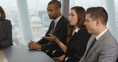 4K Business group arguing in boardroom meeting, trying to blame each other Stock Footage