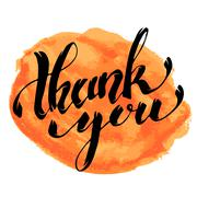 Thank You. Hand drawn lettering with watercolor stain isolated on white backg Stock Illustration