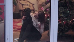 Girl with black dog looking in window Christmas Stock Footage