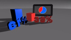 Blue & Red Comparing diagram charts 61% to 39% Stock Footage