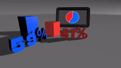 Blue & Red Comparing diagram charts 59% to 41% Stock Footage