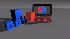 Blue & Red Comparing diagram charts 58% to 42% Stock Footage