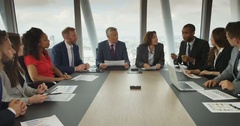 4K Financial business team in boardroom meeting discussing ideas Stock Footage