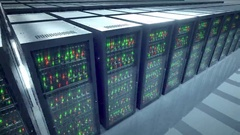 Servers racks.  Modern datacenter. Cloud computing. 8k UHD Stock Footage