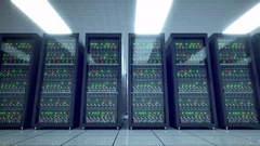 Servers racks.  Modern datacenter. Cloud computing. 8k UHD Stock Footage