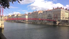 River In The Center Of Lyon Stock Footage