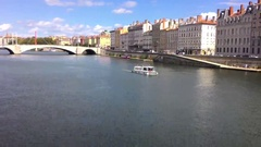 River In The Center Of Lyon 5 Stock Footage