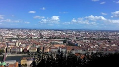 The View From The Observation Deck On The City Of Lyon Stock Footage