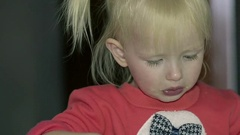 Dolly Close Up Girl Eating Porridge at Home Alone in the Kitchen Stock Footage