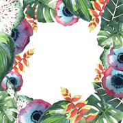 Tropical Hawaii leaves palm tree frame in a watercolor style isolated. Stock Illustration