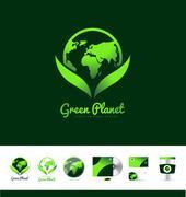 Green planet earth logo icon design Stock Illustration