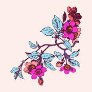 Cherry branches with flowers, sakura vector illustration Stock Illustration