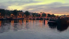 Bridge by night in Amsterdam the Netherlands Stock Footage