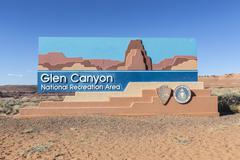 Glen Canyon National Recreation Area Welcome Sign Stock Photos