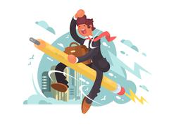 Businessman fly on pencil Stock Illustration