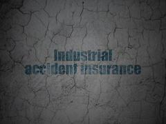 Insurance concept: Industrial Accident Insurance on grunge wall background Stock Illustration