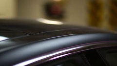 Self-opening sliding roof of modern car, close up, shallow dof Stock Footage