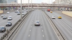Cars go on highway Leningradsky Prospect in Moscow Stock Footage