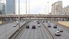 Cars on highway Leningradsky Prospect in Moscow Stock Footage