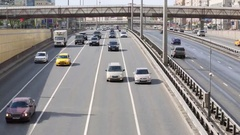 Many cars go on highway Leningradsky Prospect in Moscow Stock Footage