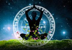 Yoga posture meditation and relaxing sitting  on the grass under the night sky Piirros
