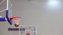 Players throw ball in basketball basket before Moscow Championship Stock Footage