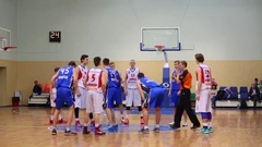 Start of game during Moscow Championship among basketball sports schools Stock Footage