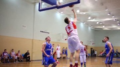 Basketball game at Moscow Championship among basketball sports schools Stock Footage
