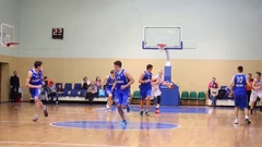 Players during game at Moscow Championship among basketball sports schools Stock Footage